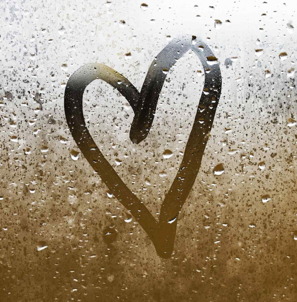 Heart painted on glass